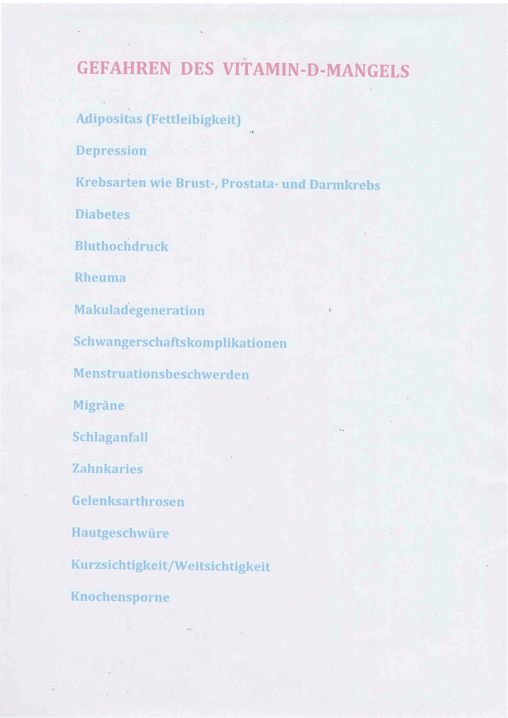 Gefahren des Vitamin-D-Mangels